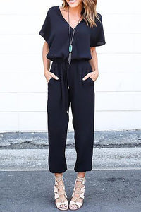 Chicloth Black Shift Daytime Casual Spaghetti Jumpsuit-Chicloth