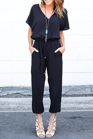 A| Chicloth Surplice Neck Jumpsuit Shift Daily Casual Cotton Bow Solid Jumpsuit