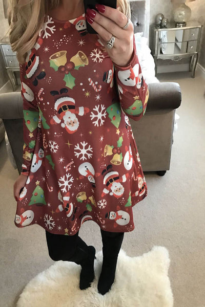 A| Chicloth Women Casual Snowman Snowflake Printed Cute Christmas Dresses-Christmas dresses-Chicloth