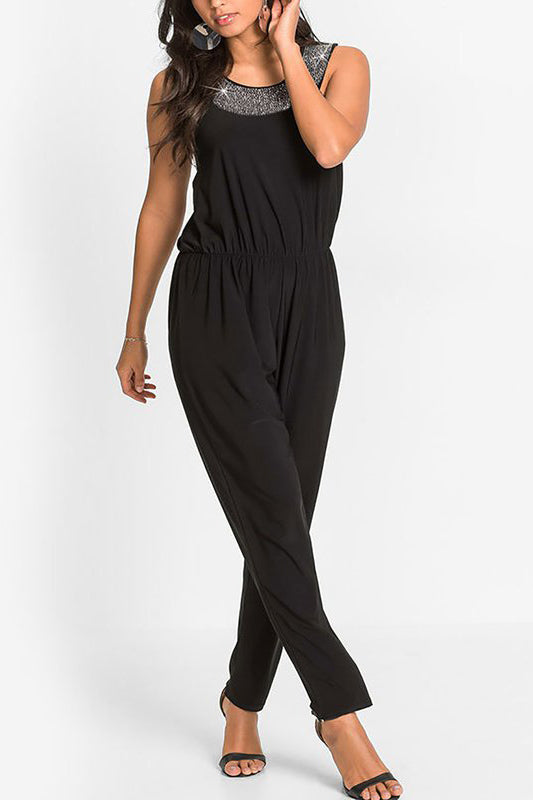 Chicloth Casual Sleeveless Cotton Solid Beaded Jumpsuit