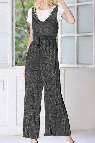 A| Chicloth Black Knitted Casual V neck Shimmer Sleeveless Jumpsuit