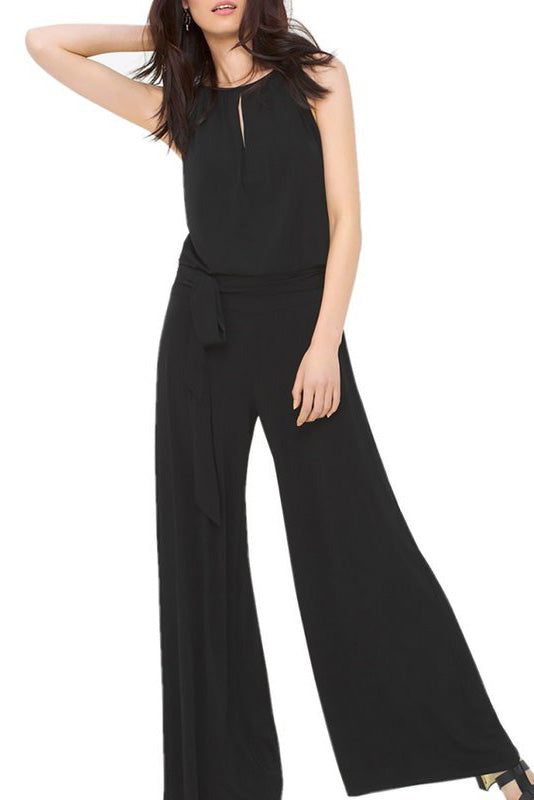 A| Chicloth Black Sleeveless Solid Jumpsuit