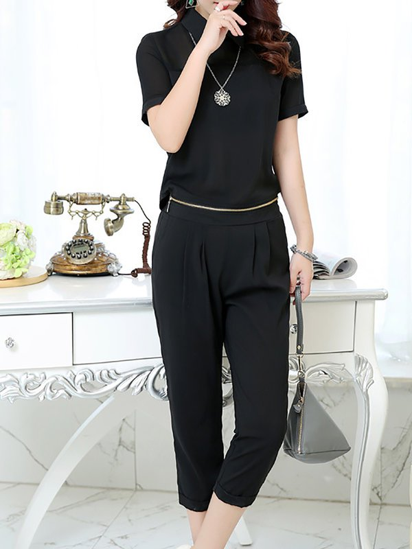 33a8a2516e99 ... Chicloth Chiffon Casual Black Daily Zipper Buttoned Jumpsuit. 50%