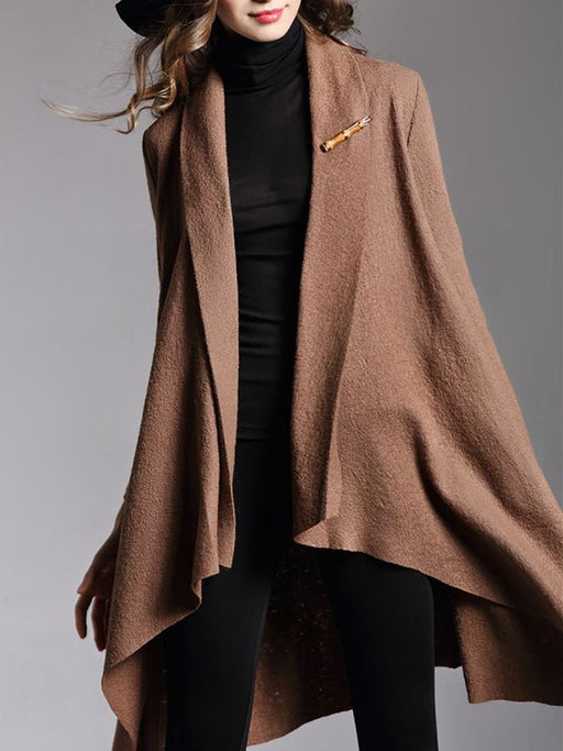 Asymmetric Long Sleeve Coats & Jackets-Coats & Jackets-Chicloth