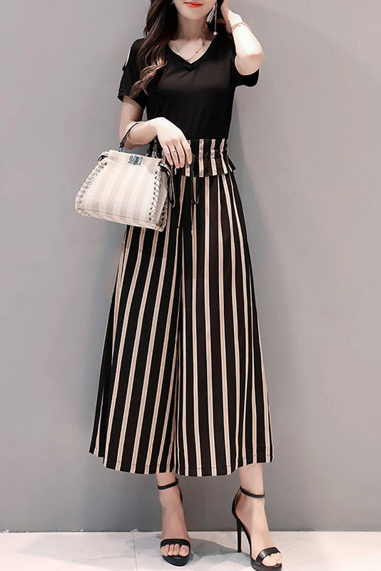Chicloth Black Bow Daily Casual Striped Jumpsuit-Chicloth