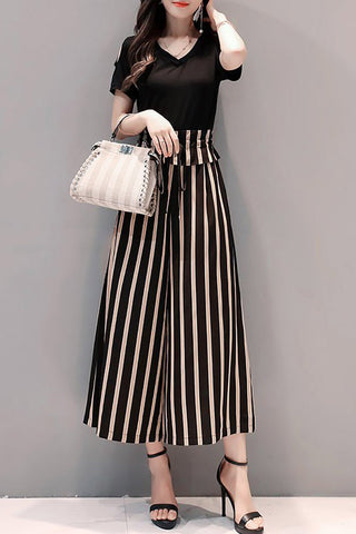 A| Chicloth Black Bow Daily Casual Striped Jumpsuit