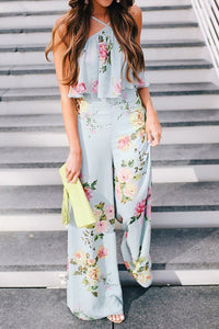 Chicloth Blue Floral Holiday Halter Printed Jumpsuit