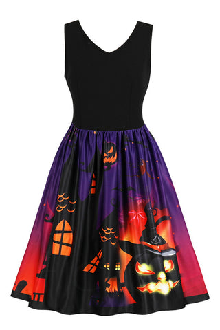 A| Chicloth Halloween Vintage Pumpkin Print Pin Up Dress