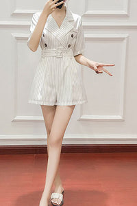 A| Chicloth Casual Daytime Buttoned Striped Lapel Romper