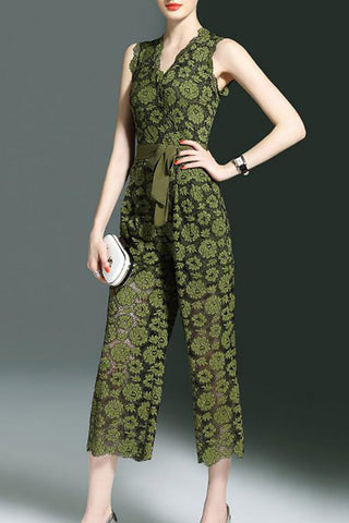 Chicoth Bow Elegant Daily Lace Jumpsuit