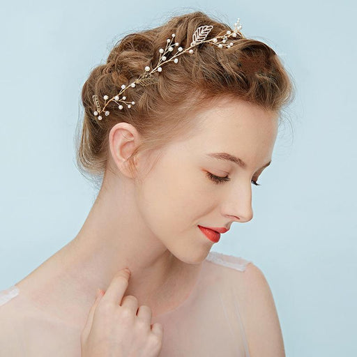 Chicloth Golden Bride Wedding Hair Band Accessories Headpieces-Headpieces-Chicloth