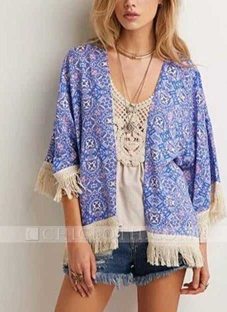 C| Chicloth Vintage Retro Print Tassel Fringe Sheer Chiffon Blue Kimono-polyester,nylon,coverup-Chicloth