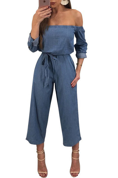 Chicloth Off Shoulder Bow Shift Daytime Solid Demin Jumpsuit-Chicloth