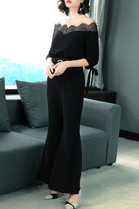 Chicloth Black Elegant Guipure lace Lace Crew Neck Jumpsuit