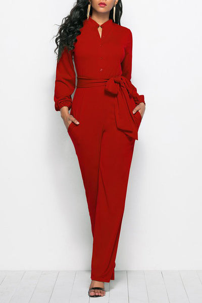 Chicloth Stand Collar Long Sleeve Elegant Solid Jumpsuit-Chicloth