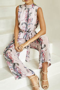 A| Chicoth Light Pink Holiday Floral Stand Collar Printed Jumpsuit