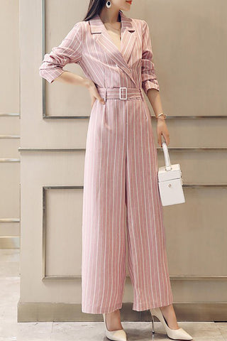 0f47bb19ee12 Chicloth Elegant Lapel Long Sleeve Printed Striped Jumpsuit-Chicloth