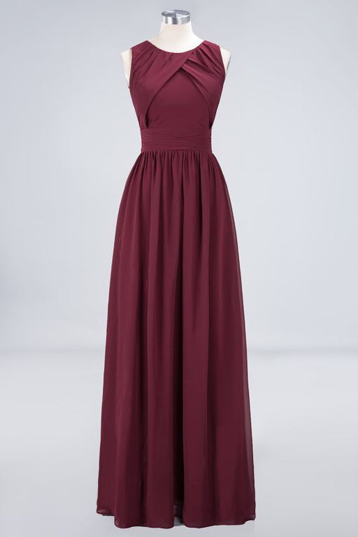 Chicloth A-Line Chiffon Round-Neck Sleeveless Floor-Length Bridesmaid Dress with Ruffles-Bridesmaid Dresses-Chicloth