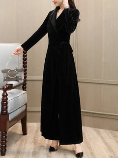 d1ecacc304d7 Chicloth Black Wrap Elegant Long Sleeve Lapel Velvet Jumpsuit