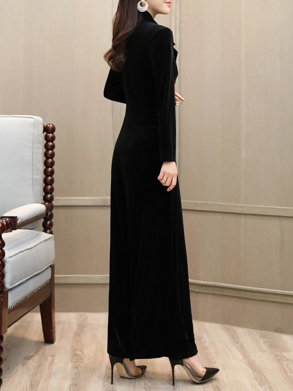 6b88e4299890 ... Chicloth Black Wrap Elegant Long Sleeve Lapel Velvet Jumpsuit-Chicloth