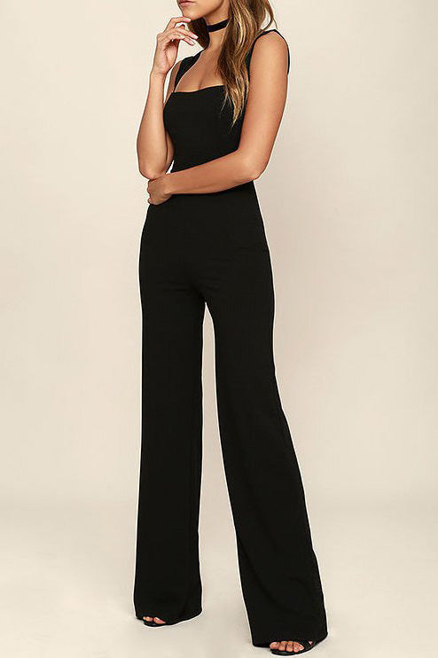 Chicoth Black Solid Casual Jumpsuit-Chicloth