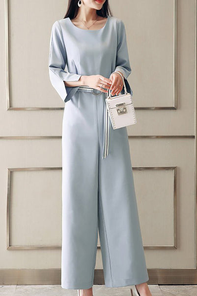 Chicloth Elegant Slit Long Sleeve Solid Belted Jumpsuit-Chicloth