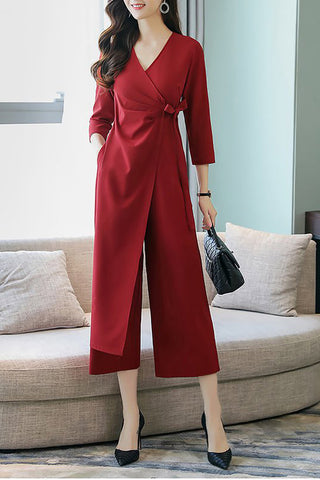 7e9d18b3033c Chicloth Elegant Wrap Solid Work 3 4 Sleeve Jumpsuit-Chicloth