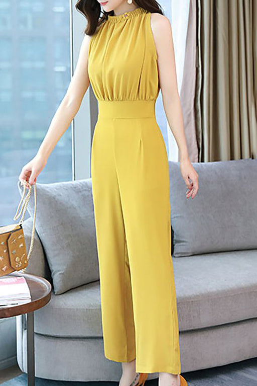 Chicloth Solid Appliqued Crew Neck Sleeveless Elegant Jumpsuit-Chicloth