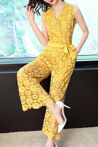 Chicloth Yellow Surplice Neck Lace Elegant Jumpsuit