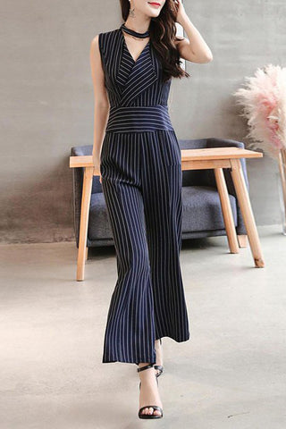 A| Chicloth Wrap Striped Elegant Jumpsuit