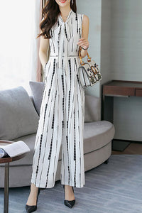 Chicloth Bow Daily Work Geometric Printed Jumpsuit-Chicloth