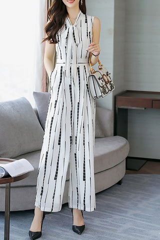 A| Chicloth Bow Daily Work Geometric Printed Jumpsuit