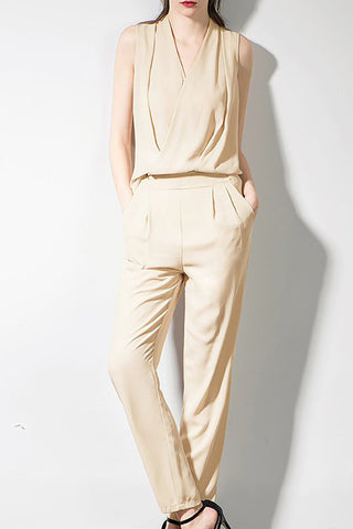 A| Chicloth Beige Solid Casual Wrap Zipper Summer Jumpsuit