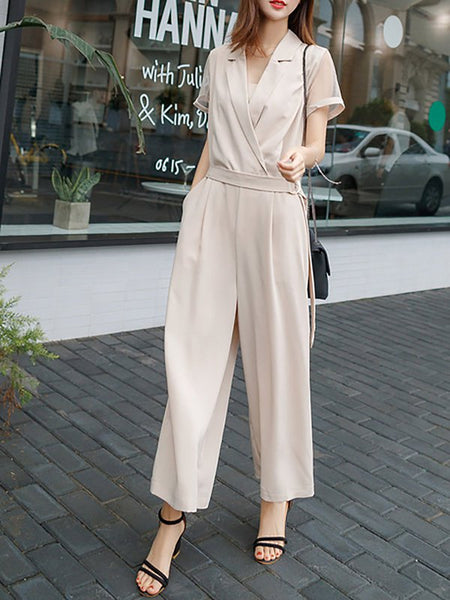 Chicloth Casual Cotton Paneled Daytime Wrap Jumpsuit-Chicloth