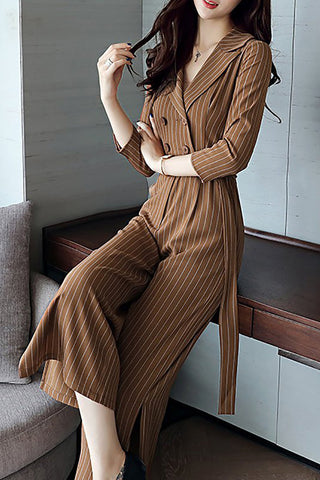 A| Chicloth Elegant Slit Striped Long Sleeve Lapel Buttoned Jumpsuit