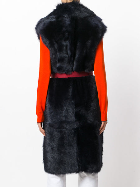 Chicloth Black Artificial Fox Fur Belt Luxury Long Vest Top - Chicloth