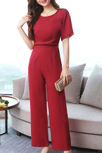 A| Chicloth Short Sleeve Crew Neck Elegant Chiffon Slit Solid Jumpsuit