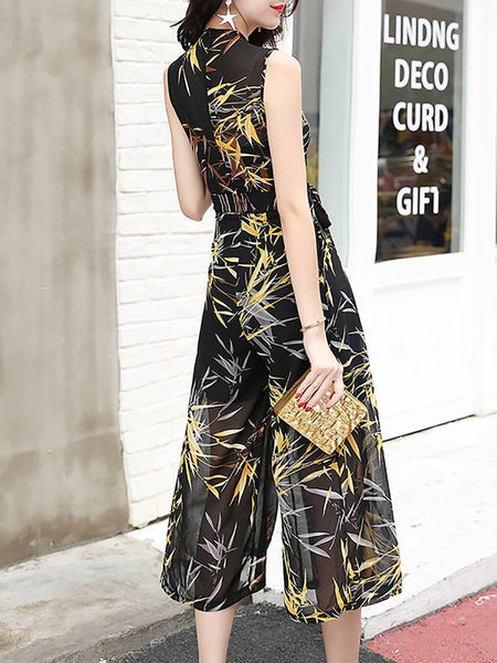 Chicloth Bow Daily Chiffon Casual Jumpsuit