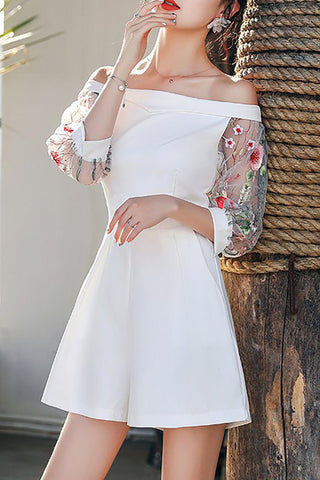 Chicoth Daily Off Shoulder Embroidered Romper