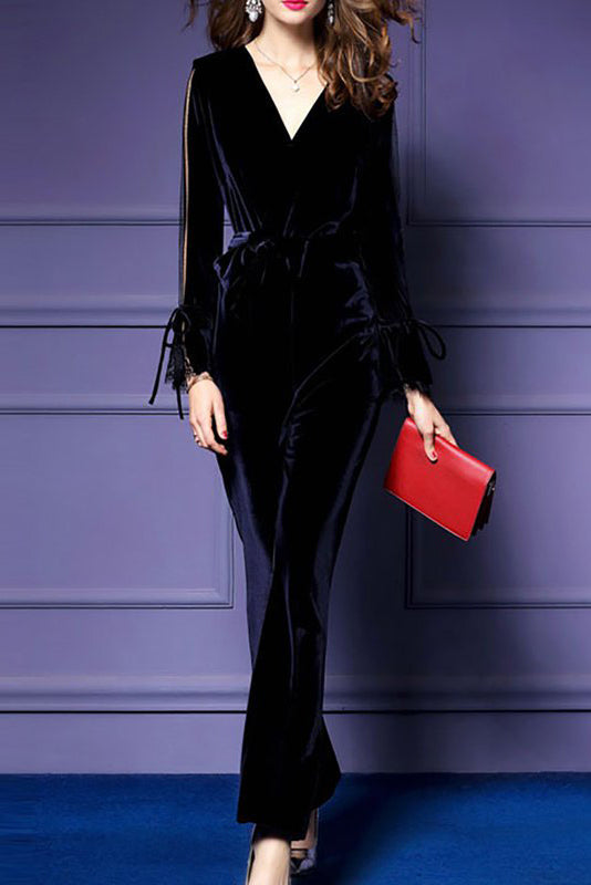 8d5ad026620 Chicloth Long Sleeve Elegant Paneled V neck Velvet Jumpsuit