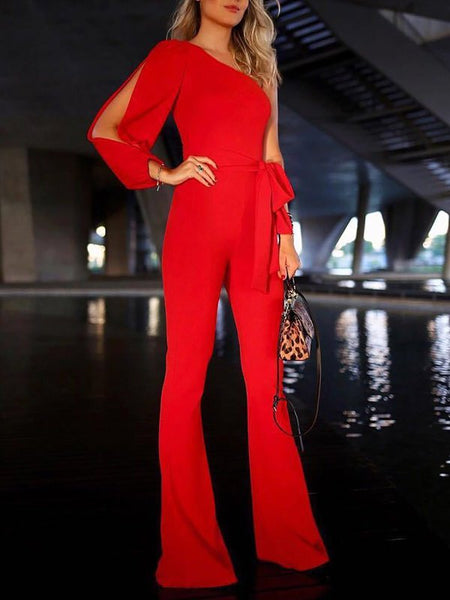 Chicloth Cutout Solid Single Sleeve Holiday Jumpsuit