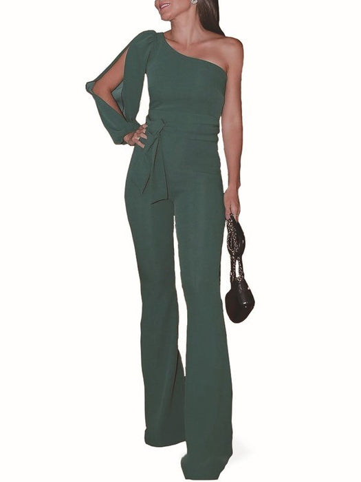 Chicloth Cutout Solid Single Sleeve Holiday Jumpsuit-Chicloth