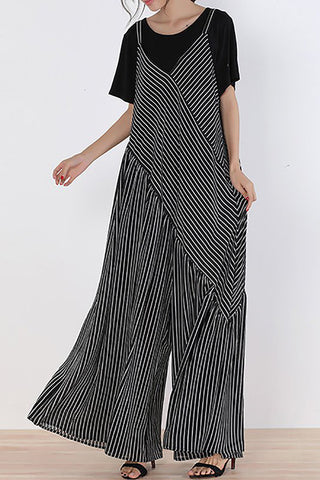 A| Chicloth Black Striped Printed Spaghetti Holiday Jumpsuit