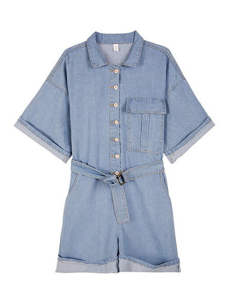 Chicloth Daily Washed Shift Casual Demin Solid Romper-Chicloth