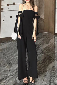 Chicloth Bow Elegant Strapless Solid Jumpsuit