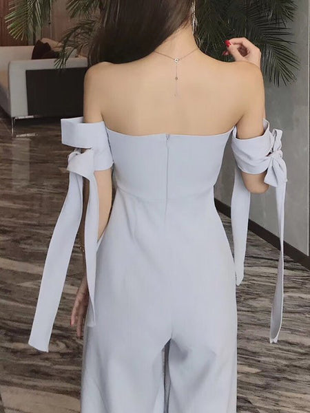 A| Chicloth Bow Elegant Strapless Solid Jumpsuit