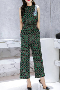 Chicloth Stand Collar Jumpsuit Going out Sleeveless Casual Chiffon Graphic Jumpsuit