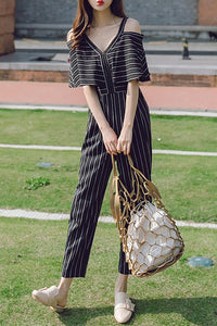 A| Chicloth Black Striped Cold Shoulder V neck Printed Jumpsuit