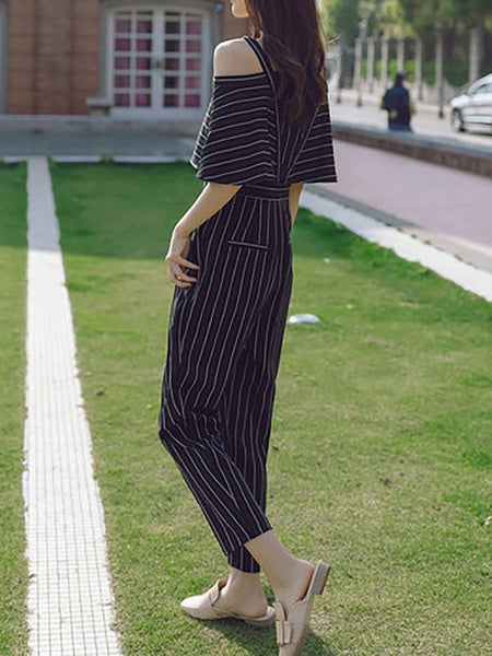 Chicloth Black Striped Cold Shoulder V neck Printed Jumpsuit-Chicloth