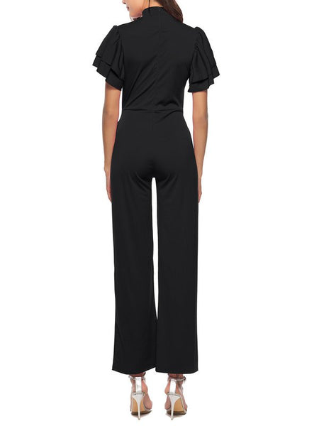 Chicloth Holiday Solid Stand Collar Frill Sleeve Jumpsuit